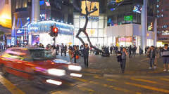 Time Lapse  Hong Kong Mong Kok Langham shopping center mall China Asia Stock Footage