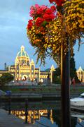 Victoria Dusk and Flowers, British Columbia - stock photo