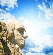 Mount Rushmore National Memorial with dramatic sky - USA - stock photo