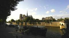 An Evening at Notre Dame, Paris Stock Footage
