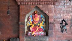 Historical temple wall with hindu gods in Katmandu, Nepal Stock Footage