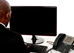 Stock Photo of Rear view of male executive working on pc