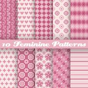 Feminine vector seamless patterns (tiling). Fond pink Stock Illustration