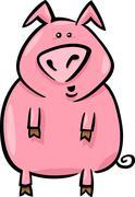 Stock Illustration of cartoon illustration of farm pig