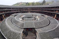 fujian tulou-special architecture of china - stock photo
