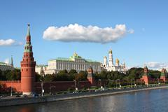 Moscow kremlin, kremlin embankment, moscow river and the kremlin's wall with  Stock Photos