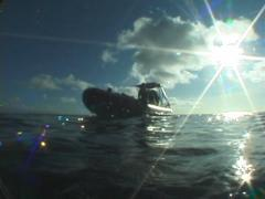 Ocean scenery approaching skiff full of divers shot from surface, on water Stock Footage