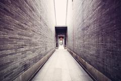 Traditional chinese architecture, long corridor Stock Photos