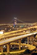 highway and bridge at night - stock photo