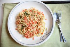 spaghetti with tomato japanese style - stock photo