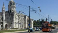 Red Touristic Bus , near Jerónimos Monastary - stock footage