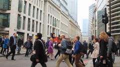 London Commuters - 50FPS - Wide Shot Stock Footage