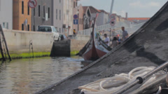 Aveiro Moliceiro  Boats and Turists Stock Footage