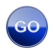 Go icon glossy blue, isolated on white background Stock Illustration