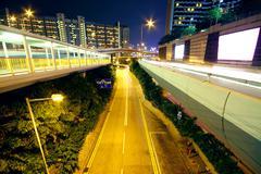 urban area at night - stock photo
