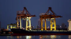 Shipping vehicle in evening Stock Footage