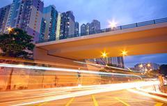 Stock Photo of traffic downtown area at night, hongkong