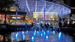 Hong Kong The Peak Galleria fountain at night China Asia. Stock Footage