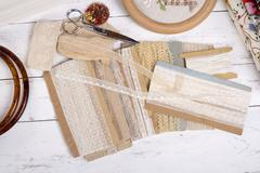 Quilting equipment and fabrics. Stock Photos