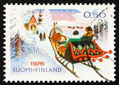 Postage stamp Finland 1976 Christmas Morning Ride to Church - stock photo