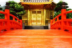 Stock Photo of oriental golden pavilion of chi lin nunnery and chinese garden, landmark in h