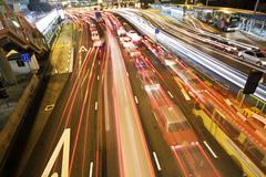 Traffic in hong kong at night. Stock Photos