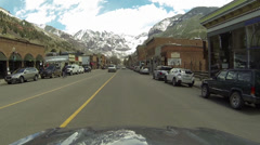 Telluride Colorado historic main street drive POV HD 0317 Stock Footage