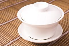 Teacup on wooden table Stock Photos