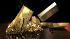 Gold bars destruction Stock Footage