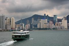 Stock Photo of ferry boat in victoria harbor, hong kong