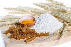 Pasta, egg, flour, healthy food Stock Photos