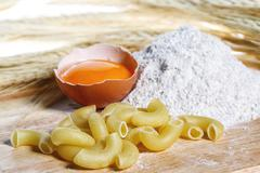 Pasta, egg, flour, healthy food - stock photo
