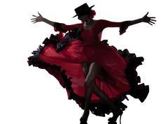 Nainen mustalainen flamenco tanssi dancer silhouette Kuvituskuvat