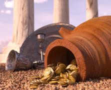 ancient gold coins treasure concept background with antique pitcher and chalice - stock illustration