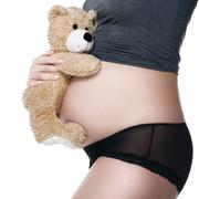 Belly of a pregnant woman with a teddy bear hugged - stock photo