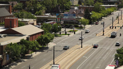 Salt Lake City light rail above - stock footage