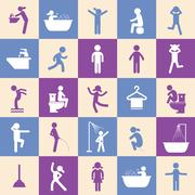 action people and  hygiene icons set - stock illustration