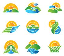 Set of landscape symbols and icons Stock Illustration