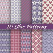 Lilac different vector seamless patterns (square swatches) - stock illustration