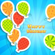 Stock Illustration of Happy birthday colorful applique background
