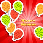 Happy birthday colorful applique background Stock Illustration