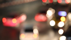 Flare night traffic lights Bangkok, Thailand. Out of focus Stock Footage
