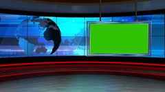 News TV Studio Set 24 - Virtual Green Screen Tausta Loop Arkistovideo