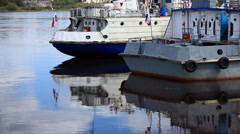 Moored River ships Stock Footage