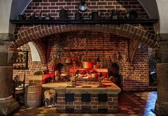Historical kitchen in the old style Stock Photos