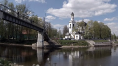 View of the Church of Sts. Alexander Nevsky  time lapse Stock Footage