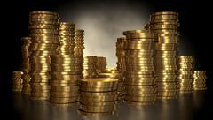gold coin stacks - stock illustration