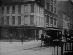 Horse Drawn Street Car In New York City circa 1908 Stock Footage