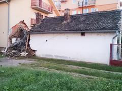 destroyed house as result of terrible flood - stock photo