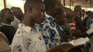 Stock Video Footage of Congregation singing in Nigerian mega church